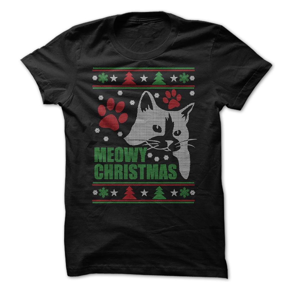 Photo of Meowy Ugly Christmas T-Shirt