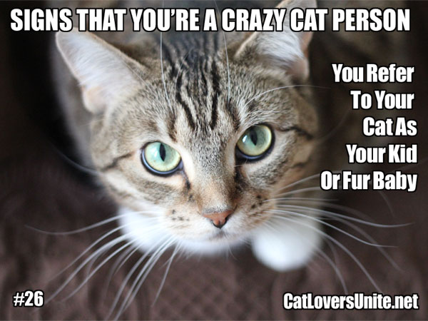Meme about crazy cat people. For more: CatLoversUnite.net