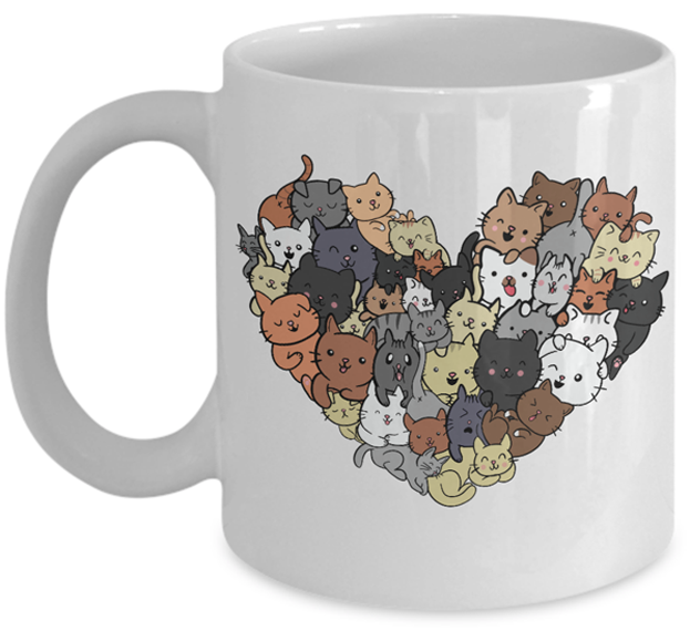 Photo of mug with heart made of cat images