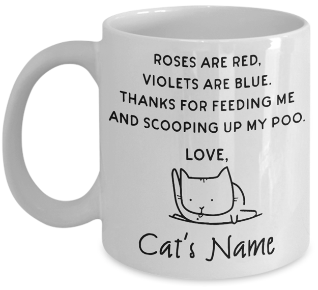 Image of Roses Are Red cat mug